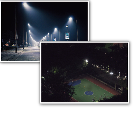 Parking lot and ball court lighting